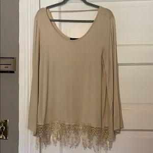 Scoop neck, lace bottom blouse